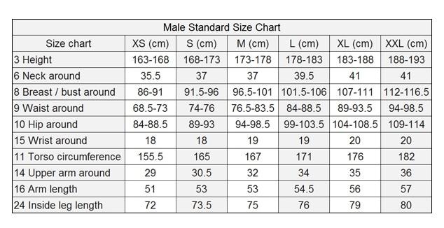 Catsuit Size Chart men