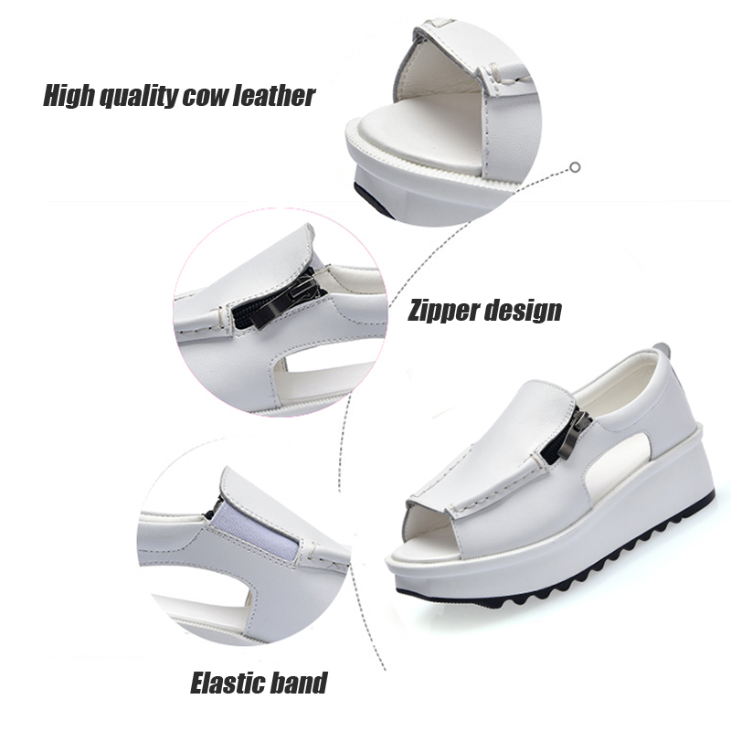 a68e071d33974 ... STQ 2018 Summer women sandals wedges sandals ladies open toe round toe  zipper black silver white ...