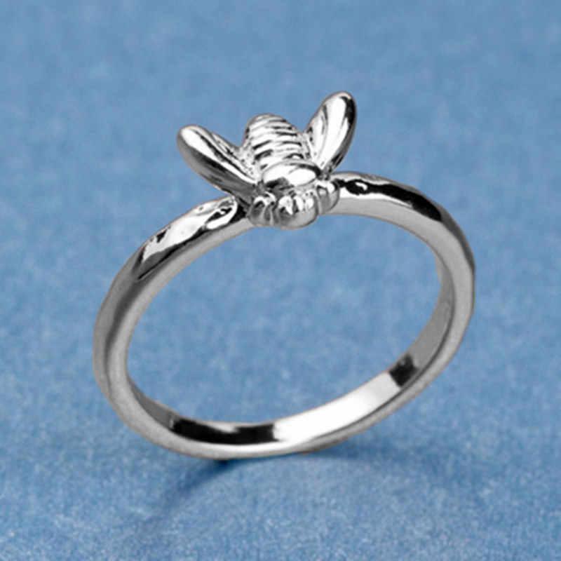 1 Pcs פשוט זעיר מוצק זהב צבע נחושת דבורה אצבע טבעות זהב מרוקע לערום טבעת הצהרת תכשיטי נישואים