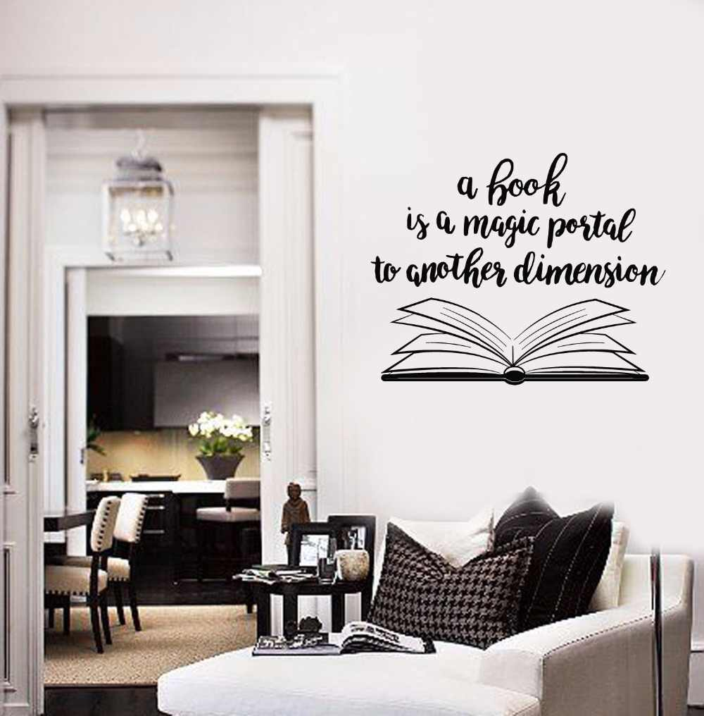 Open Book Design Wall Sticker Library Home Interior Decor Books Quote Wall Decal Removable Open Books Vinyl Wall Poster Ay1576