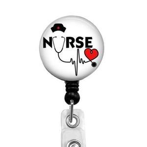 Image 1 - Krankenschwester Herz Stethoskop Abzeichen Reel Versenkbare Abzeichen Halter 10 teile/los