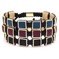 10mm Stingray Leather Men Bracelets Mens Black Python Leather Bracelet With Cubic Python Stingray Braiding Macrame Bracelet