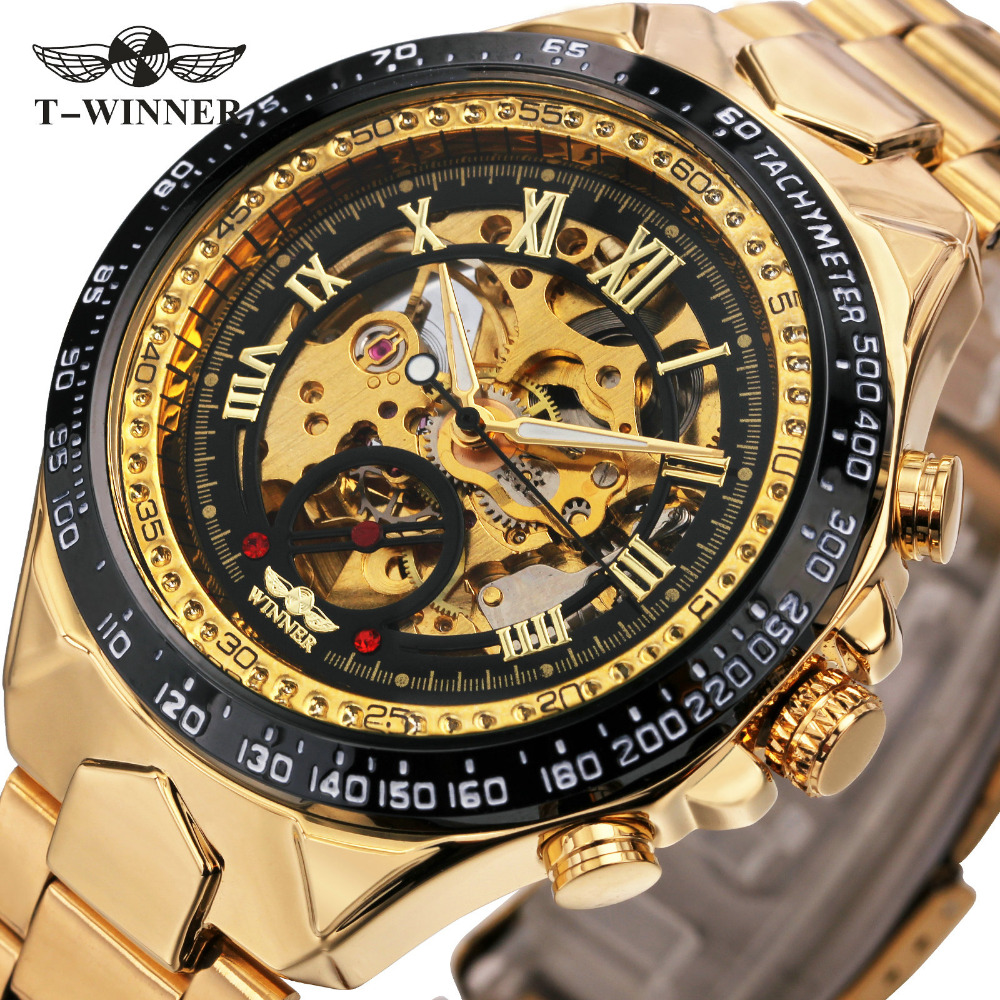 2017 T-WINNER Men Watch Automatic Mechanical Wristwatch Top Luxury Brand Golden Metal Strap Male Skeleton Clock Hot Fashion Gift t winner automatic watch mens trendy mechanical auto windding silicone band wristwatches modern elegant analog hollow clock gift