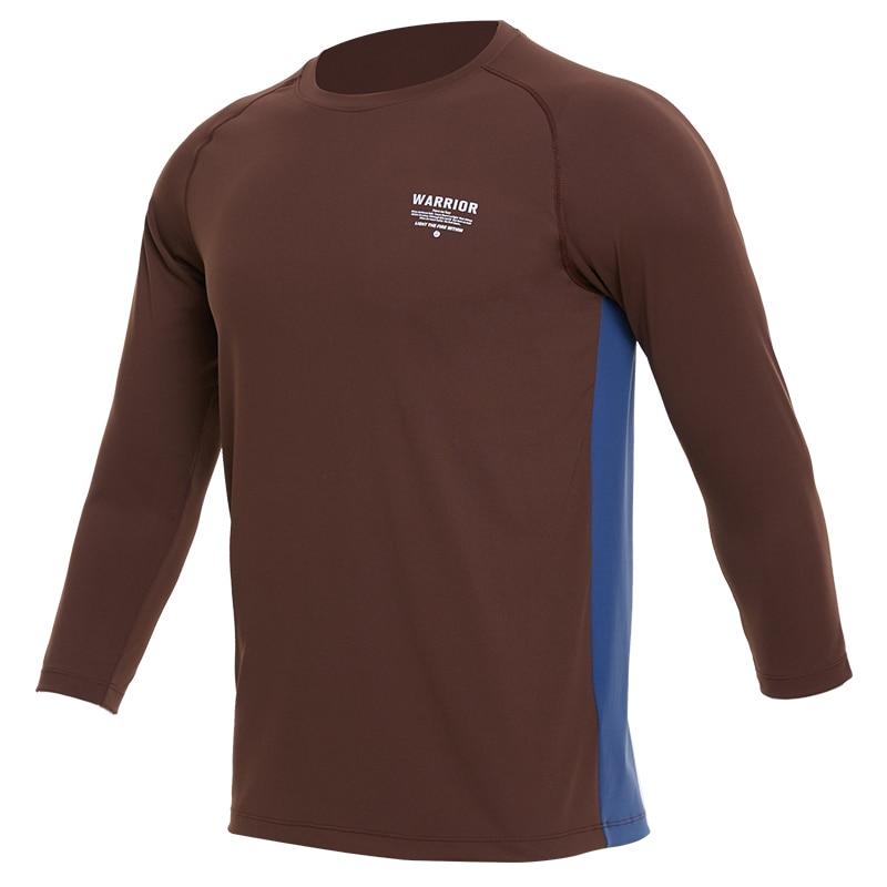 Sport Hemd Männer Fitness Laufen T shirts 3/4 Langarm Sport Top Elastische Sport Gym Bodybuilding Training T shirt Rashgard - 6