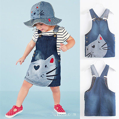 2017 Fashion Summer Cute Cat Baby Kids Girls Toddler Denim Jeans Overalls Dress Clothes Set 2-7Y