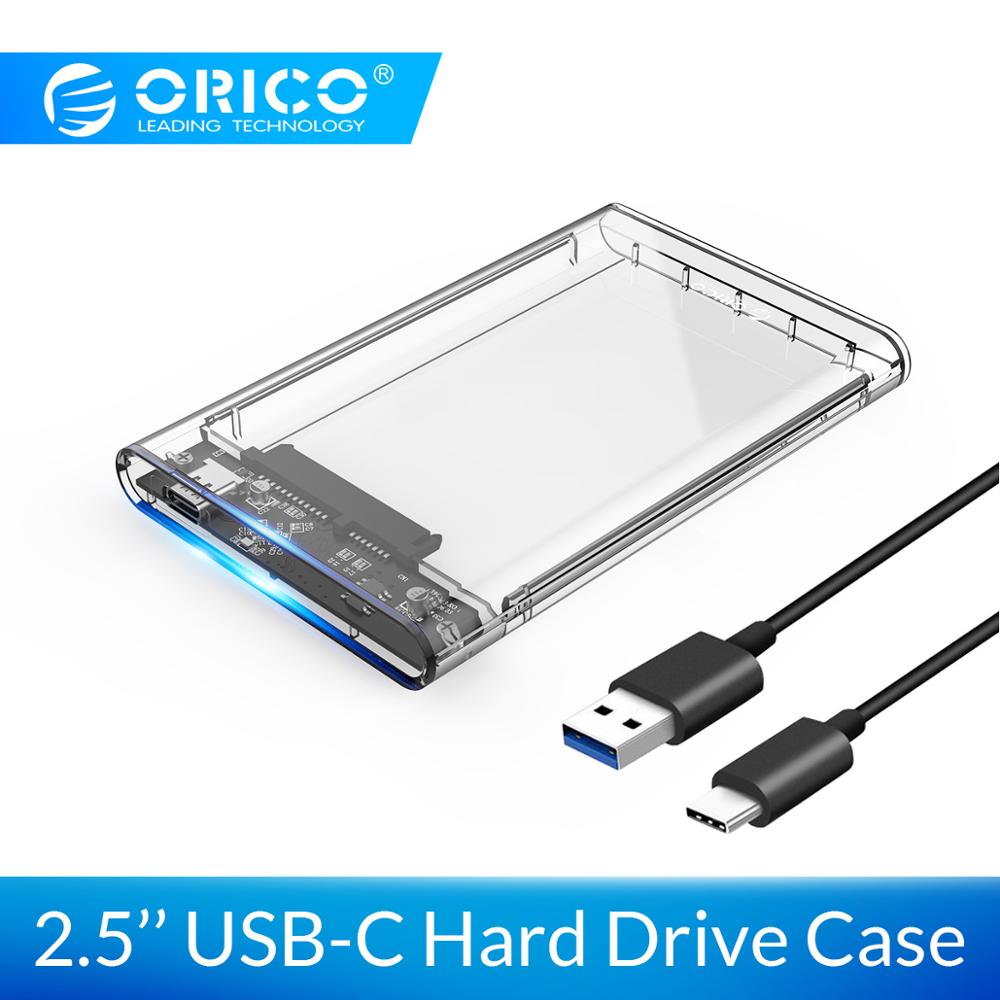 ORICO 2.5'' SATA To USB C Transparent HDD Case Tool Free 6Gbps Support 4TB UASP Protocol For 9.5mm Below Hard Drive Enclosure
