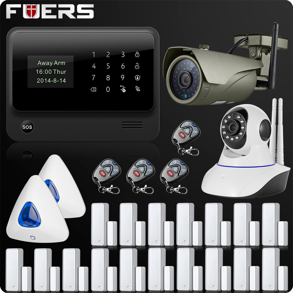 2018 G90B Plus 2LCD IOS Android Wifi GSM GPRS Alarm System 433MHz WIfi IP Camera Wireless 1080P 2MP Wifi IP Camera original ios android app wifi gprs gsm home security alarm system with waterproof wifi ip camera multilanguage g90b alarm system