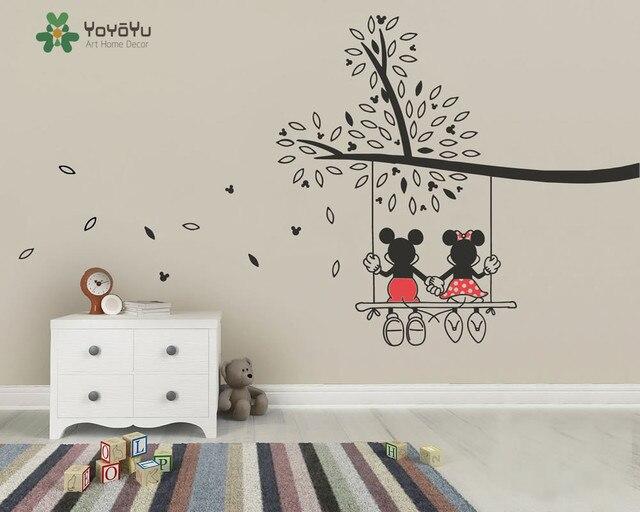 Vinyl Kindergarten Baum Aufkleber Mickey Und Minnie Schaukel Baum