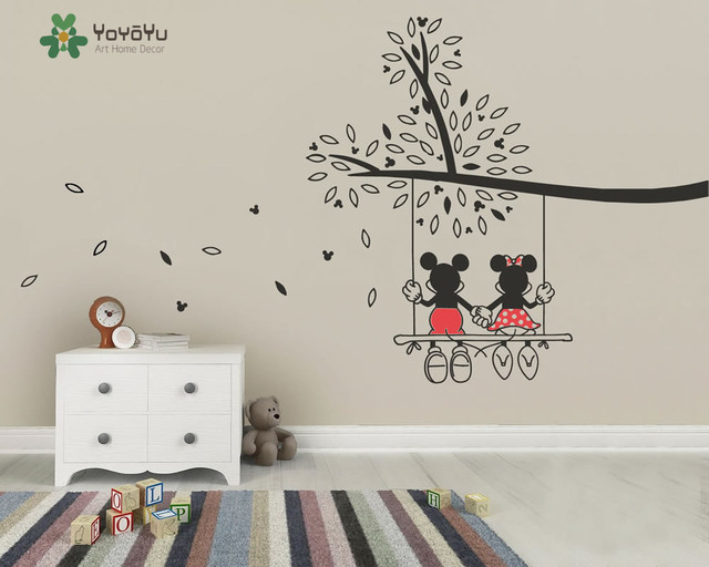 Vinyl Nursery Tree Sticker Mickey And Minnie Swing Tree Wall Decal Kids  Children Bedroom Decoration Art