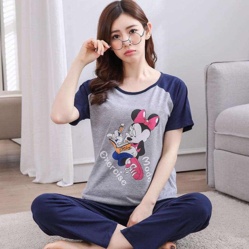 Women's Pajamas Sets 100% Cotton Cartoon Autumn Girlfriend Indoor Cloth Home Suit Sleepwear Long Sleeve Female Pyjamas Sets
