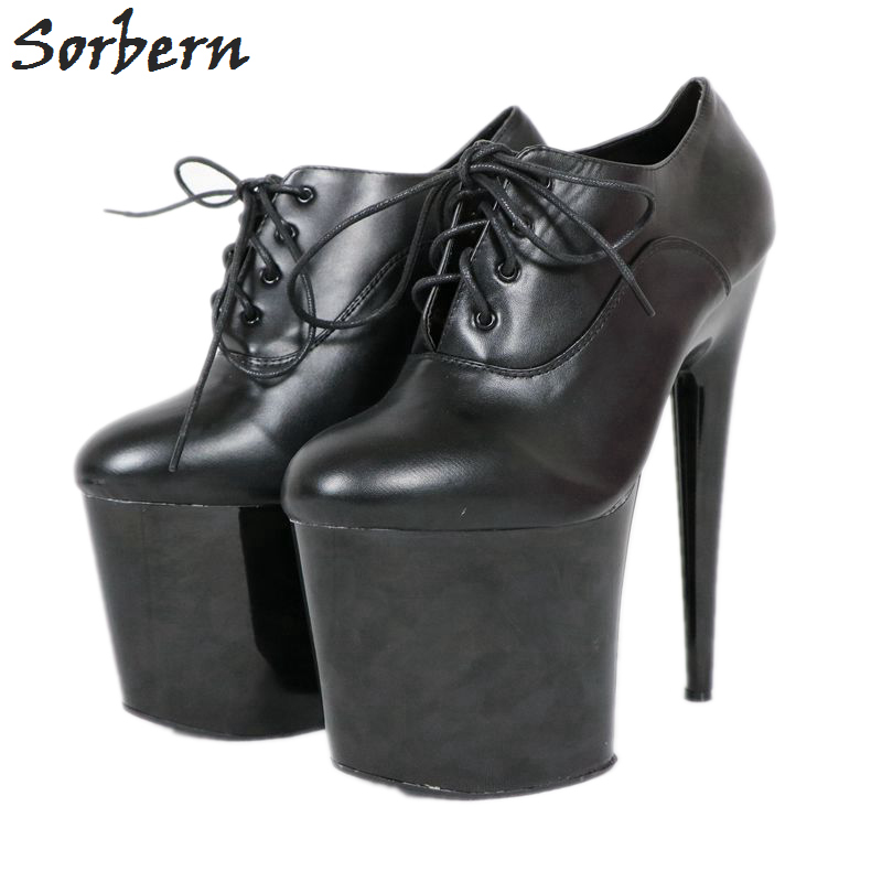 Sorbern Lace Up Woman Shoes 2018 Spring High Heels Exotic Dancer Shoes Round Toe Pumps Large Size High Heels Plataform HeelsSorbern Lace Up Woman Shoes 2018 Spring High Heels Exotic Dancer Shoes Round Toe Pumps Large Size High Heels Plataform Heels