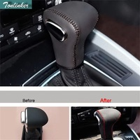 Tonlinker 1 PCS DIY Car Styling New Leather Hand stitched Gear Knob Protective Cover Stickers for AUDI Q3 2013 Part Accessories