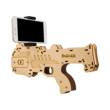 2017 Newest Portable Bluetooth AR-Gun Newest style 3D VR Games Wooden Material Toy AR Game Gun for Android iOS iPhone Phones