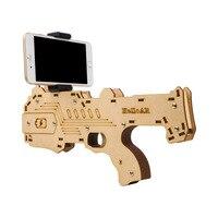2017 Nieuwste Draagbare Bluetooth AR-Gun Nieuwste stijl 3D VR Games houten Materiaal Speelgoed AR Game Gun voor Android iOS iPhone telefoons