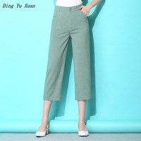 2019 New Summer Women Straight Pants Calf Length Cotton Linen Blend Office Ladies Suit Pants High Waist Casual Plus Size 4XL 5XL