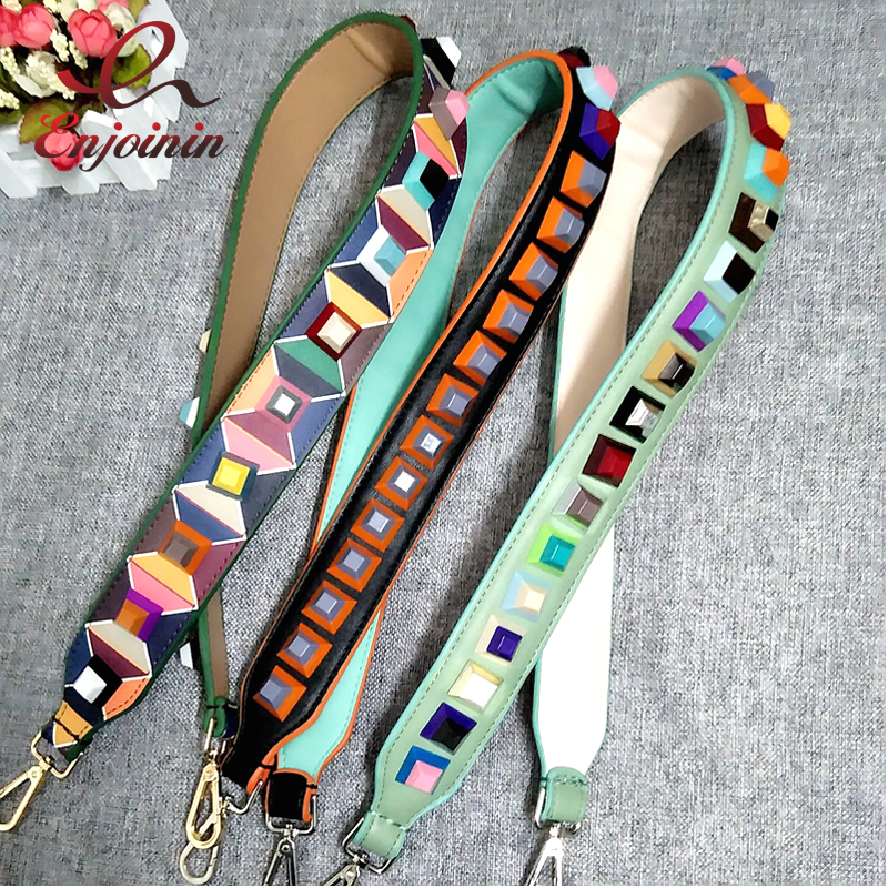 New Style Fashion Punk Colorful Rivets Casual Pu Leather Ladies Handbag Shoulder Strap Belt Bag Accessories Bag Parts 3 Colors