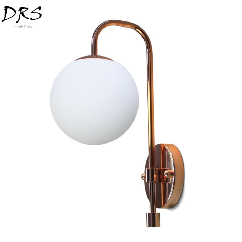 Designer Post-modern Wall Lights Simple Glass Ball Wall Lamp Bedside Art Lamp Simple Wall Saconces Living Room Decor FixturesDesigner Post-modern Wall Lights Simple Glass Ball Wall Lamp Bedside Art Lamp Simple Wall Saconces Living Room Decor Fixtures