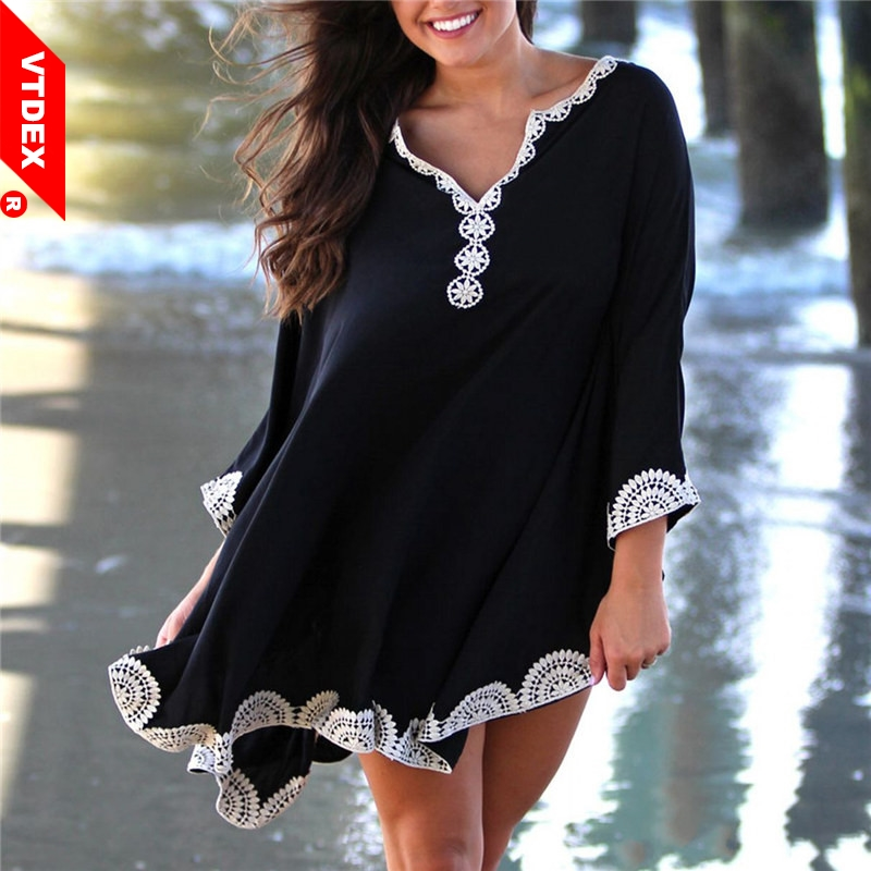 Batwing Sleeve Beach Dress Beach 2018 Black Coverups Women Pareo de Plage Swimsuit Cover up Beach Sarongs Swimwear Kaftan Beach