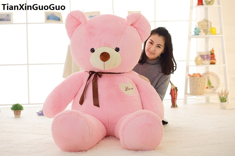 stuffed toy huge 140cm love heart pink teddy bear plush toy silk belt bear soft doll hugging pillow birthday gift s0373 stuffed plush toy 68cm happy doraemon doll huge 26 inch soft toy birthday gift wt6761