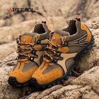 APTESOL Men Outdoor Climbing Mountain Sport Hiking Shoes Non slip Athletic Tactical Boots Clorts Men's Fashion Trekking Boots