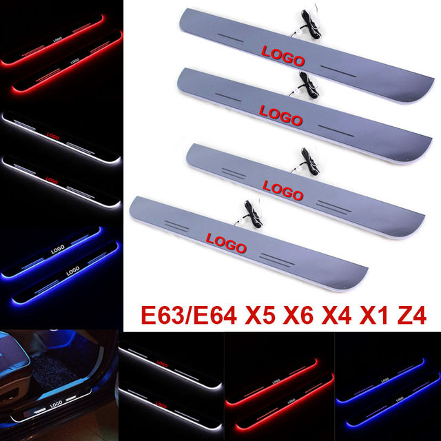 1pair Car LED Moving Welcome Pedal Lamp Door Sill Scuff Plate Trim Panel Lights for BMW E63 E64/X1/X4/X5/X6/Z4 CSL2016