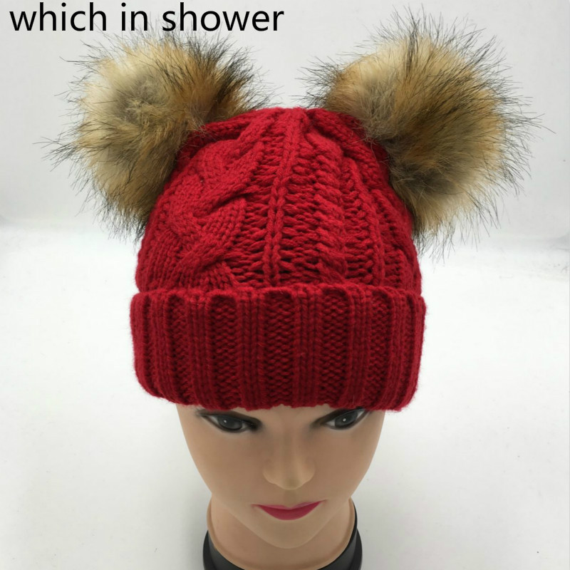 5d408240d63 which in shower two faux raccoon fur pompom winter hat women girl fleece  inside cable knit double fake fur pom pom winter beanie