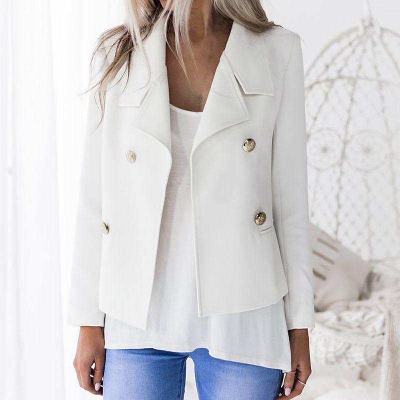 Women Blazers Autumn Winter Solid Stand Collar Double Button Decor Buckle Office Lady Long Sleeve Slim Warm Coat Blazer