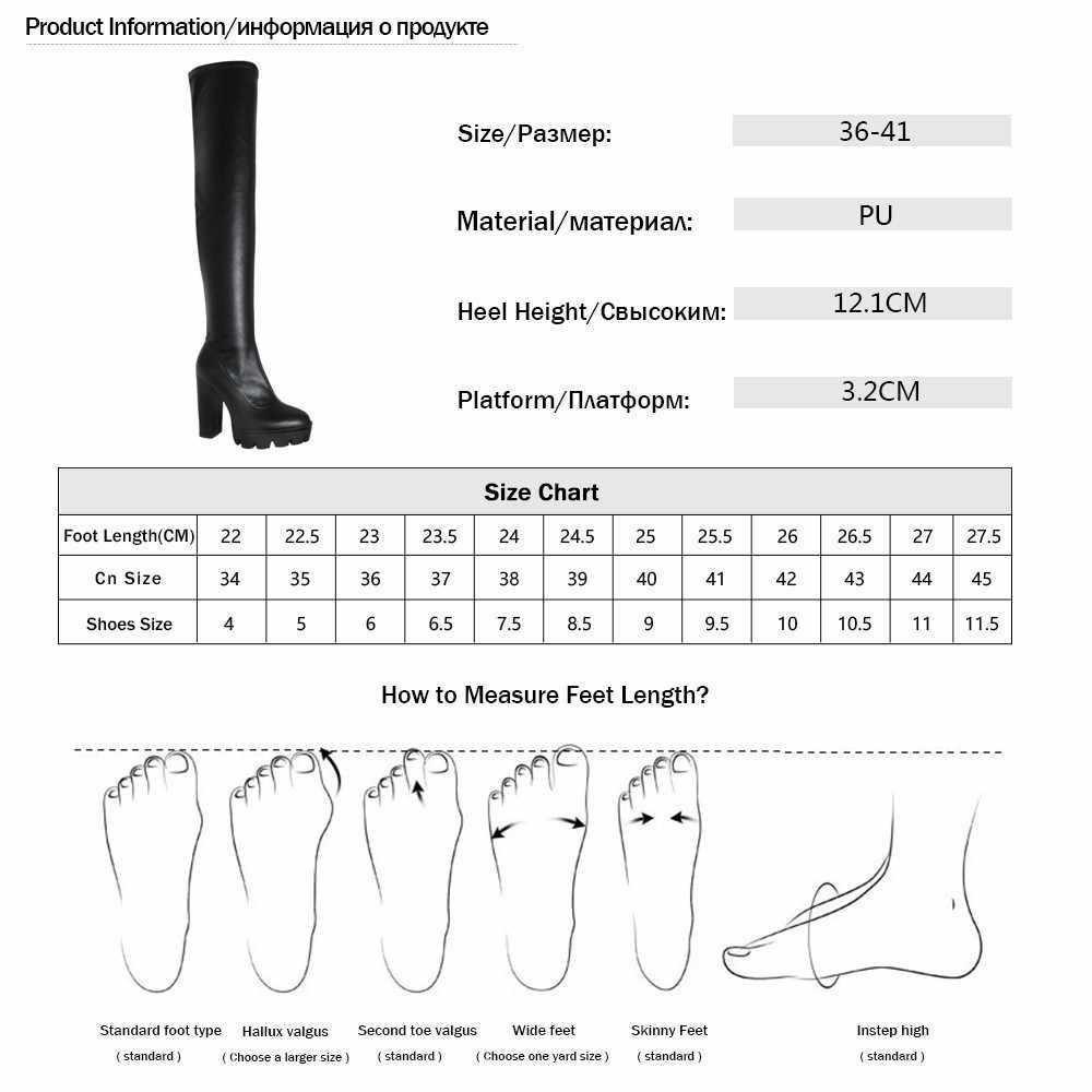 2019 Bahar Yeni Akın Deri Kadınlar Diz Çizmeler Üzerinde Seksi 12cm Yüksek Topuklu Sonbahar Kadın Ayakkabı Kış Kadın çizmeler Boyutu 36-41