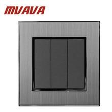 MVAVA New 3 Gang 1 Way Smart Home EU UK Standard Silver Satin Metal 3 Gang Electrical Push Button Light Power Switch 220V стоимость