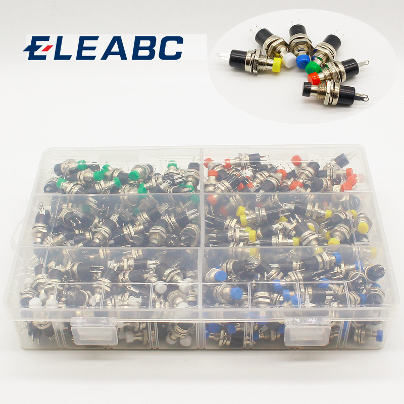 300pcs 7mm Momentary Push button Switch Press the reset switch Momentary On Off Push Button Micro Switch Normally Open NO 10pcs mini micro diy 7mm thread 2 pins momentary push button switch red black white blue yellow green lockless self rest on off