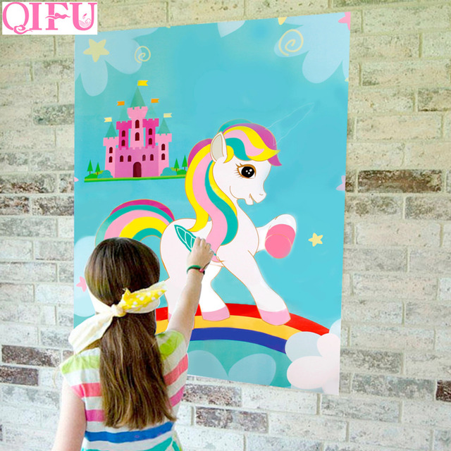 qifu pin the horn on the unicorn party game kids birthday party
