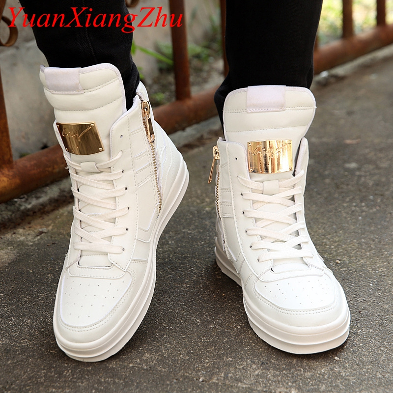 Winter Boots Men Waterproof Leather Boots Men High Top Shoes 2019 White Winter Footwear Lace-Up Casual Shoes Man Plus Size 45(China)