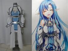 Espada de arte en línea asuna yuuki cosplay sao alo ondina avatar titania anime costume dress blanco y azul