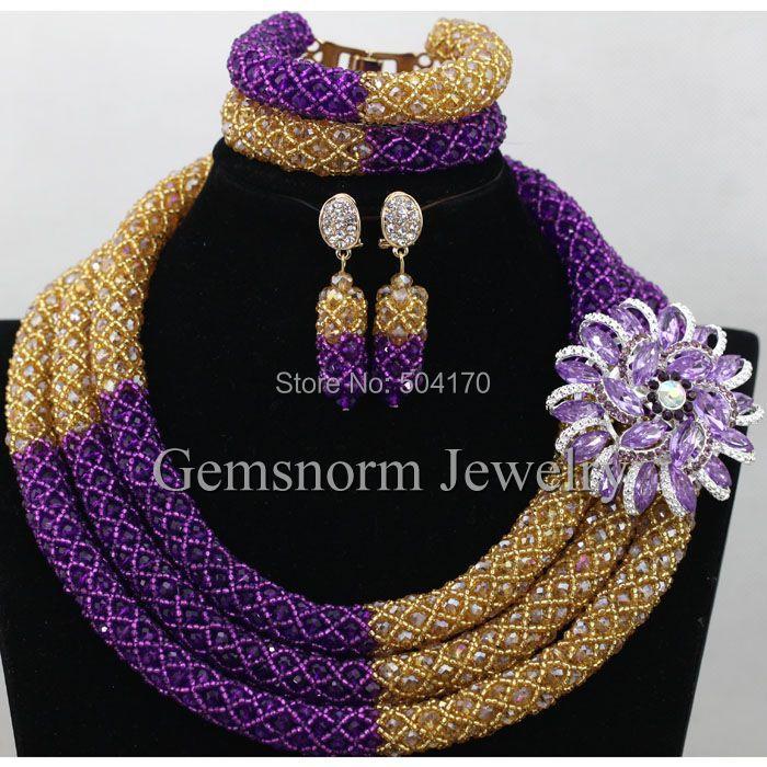 Splendid Purple Gold Nigerian Bridal Beads Fashion Jewelry Set Costume African Indian Jewelry Set for Women Free Shipping WA434