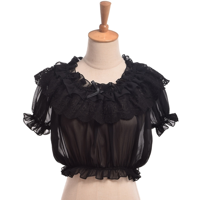 Women Crop Top Blouse Lolita Frilly Chiffon White/Black Puff Sleeve Lace Bottoming Undershirt