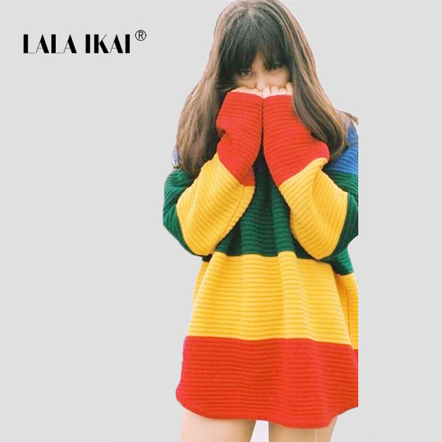 c93d16da35 2018 Chic Females Sweaters Striped Harajuku Pullovers Crocheted Womens  Sweater Color Gradient Rainbow O Neck Top SWD0351-45