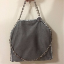 37cm MID Size Exclusive heavy chain TOP Quality model shaggy deer PVC  chains luxury shoulder tote bag dark grey color