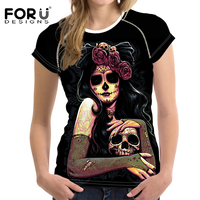 FORUDESIGNS 2017 Women Summer Black T Shirt Crop Tops Cool Skull Head Prints Woman Casual Shirts