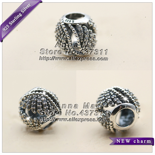 NEW S925 Sterling Silver Majestic Feathers with Clear CZ Openwork Charm bead Fit European Woman Charm Bracelets & Necklaces B288