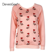 DevenGee New 2017 Autumn Fashion Kawaii Sweatshirts For Women Girls Long Sleeve Cute Owl Print Pink Hoodies Female Pullovers Top