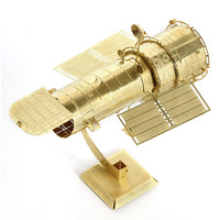 3D Metal Model Puzzles HUBBLE TELESCOPE Golden Chinese Metal Earth Brass ICONX Etching Assembly Creative Gifts