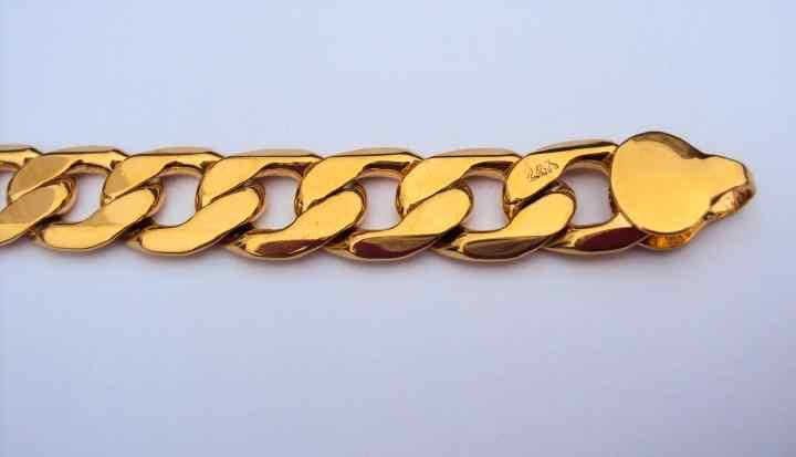 """24 พัน GF แสตมป์สีเหลืองทองเสร็จสิ้น 8.9 """"12 มิลลิเมตร Mens สร้อยข้อมือ Curb Chain Link เครื่องประดับ"""