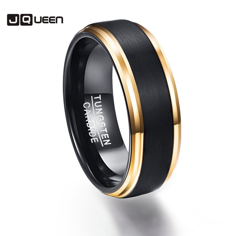 Вечерние Золотое кольцо Цвет край обещание группа Для мужчин Кольца 100% Вольфрам карбида Обручение Multi-размер anillos Para Hombres pierscienie