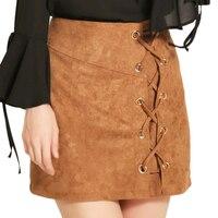 Autumn Lace Up Leather Suede Pencil Skirt Winter 2017 Cross High Waist Skirt Zipper Split Bodycon