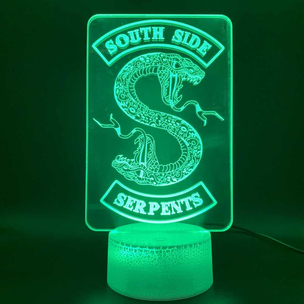 3D Illusion Led Night Light Lamp Riverdale Gift Snake Logo Office Decorative Table Lamp Southside Serpents Sign Kids Nightlight