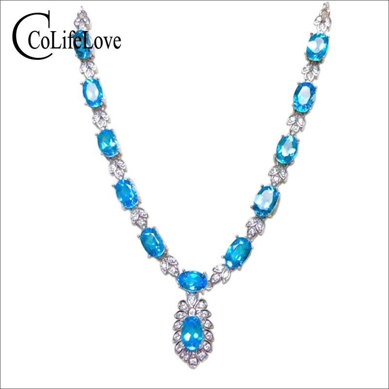 Éblouissant collier topaze pour soirée 13 pièces naturel VVS bleu clair topaze argent collier solide 925 argent topaze bijoux