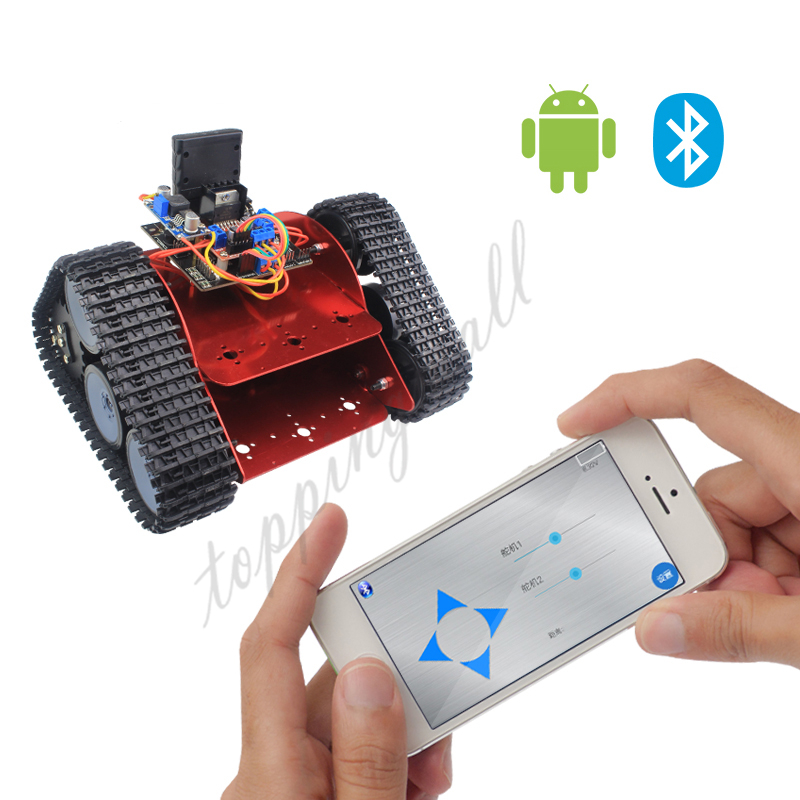 Unassembled Red Tracked Vehicle Tank Chassis Crawler Remote Control Robot Car with DC Motor for Arduino free shipping 3v 0 2a 12000rpm r130 mini micro dc motor for diy toys hobbies smart car motor fod remote control car