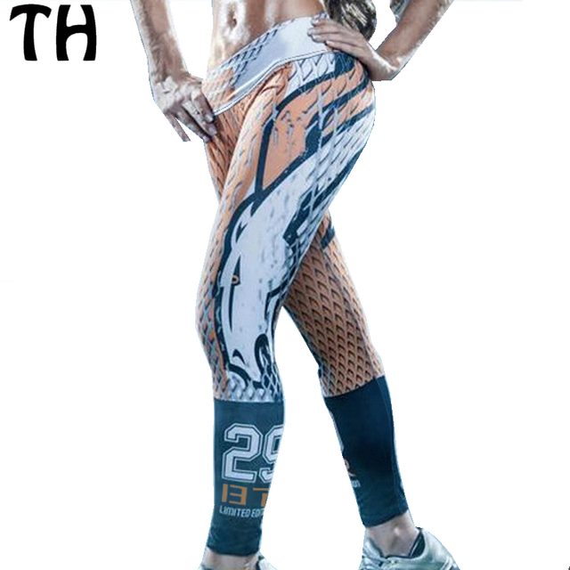 2016 3D Печати Женщины Сжатия Брюки Тонкий Поножи Женщины Тренировки Фитнес Леггинсы Mujer #160372