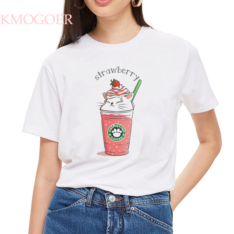 <font><b>Women's</b></font> Strawberry Cat Bar T Shirt <font><b>Cotton</b></font> O-Neck Kawaii Cats T-Shirt Punk Print Casual Short Sleeve Harajuku <font><b>Tshirt</b></font> Streetwear image