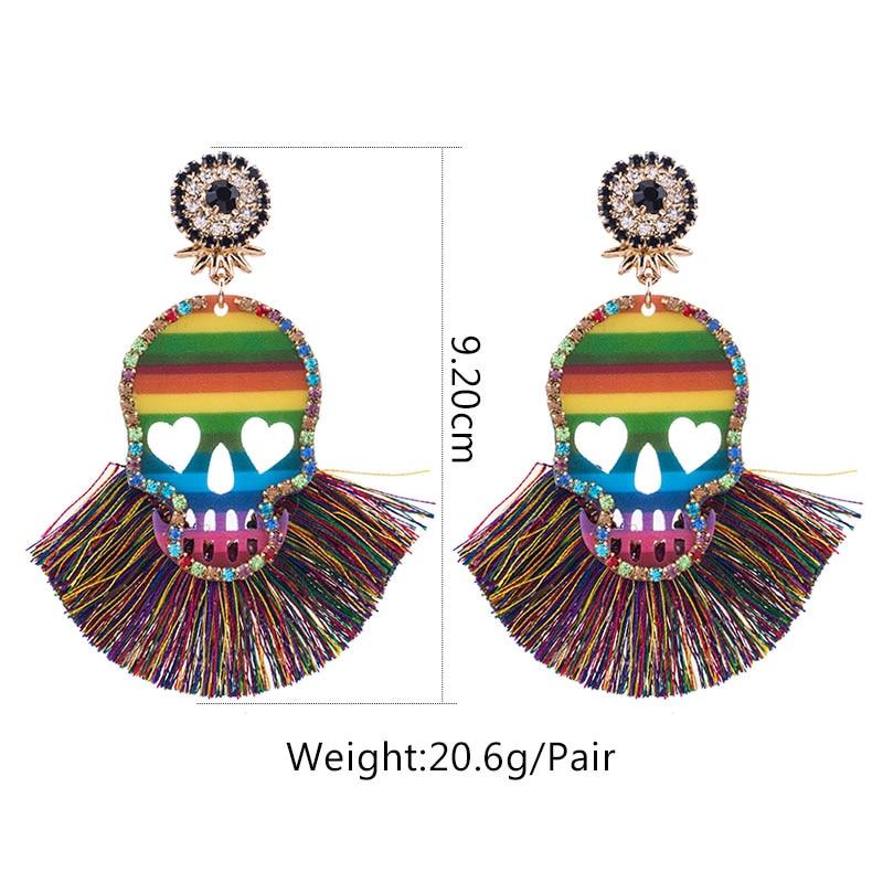 2019 New Design Skull Tassel Earrings For Women BOho Ethnic Crystal Silk Fabric Long Dangle bohemian statement ear Jewelry (1)